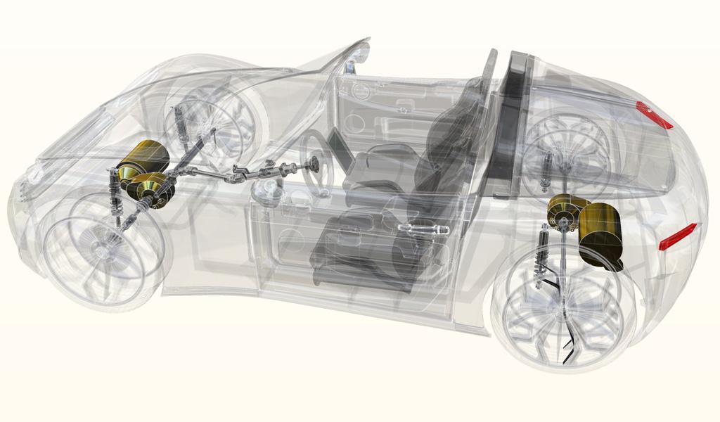 Les dessous de ce joli roadster avec ses deux moteurs électriques, un sur chaque essieu